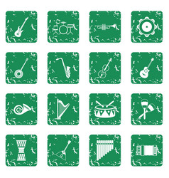 musical instruments icons set grunge vector image