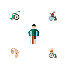 Flat icon disabled set of injured handicapped man vector