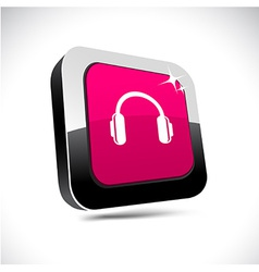Headphones 3d square button vector