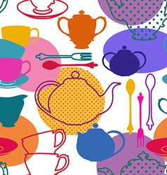Seamless pattern of tea set dishes vector