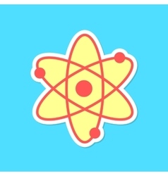 Atom sticker with shadow isolated on blue vector