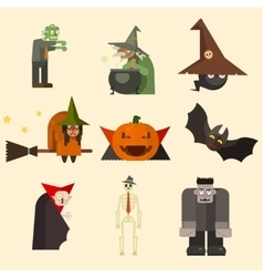 Halloween characters in flat style vector
