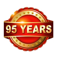 95 years anniversary golden label with ribbon vector