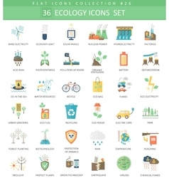 Ecology color flat icon set elegant style vector