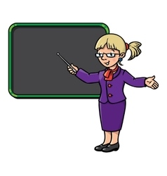 Funny teacher with pointer profession series vector