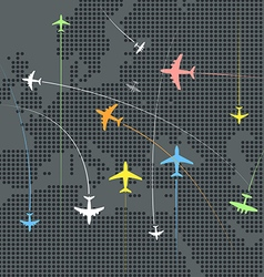 Airplanes flying over the abstract map of europe vector image