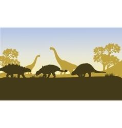 Ankylosaurus silhouette of scenery vector