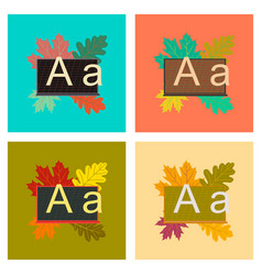 Assembly flat icons education blackboard leaves vector