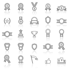 Award line icons with reflect on white vector image