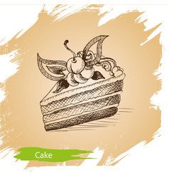 Background sketch cake of vector