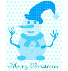 Blue snowman with hat and scarf vector image vector image