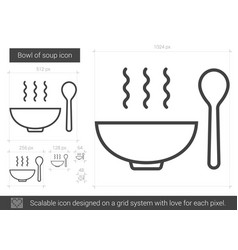 Bowl of soup line icon vector