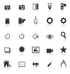 Camera icons with reflect on white background vector image vector image