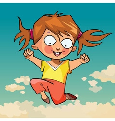 Cartoon funny little girl joyfully jumping vector