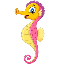 Cartoon watercolor Seahorse with happy face vector image