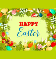 Easter egg floral background for poster design vector