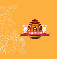 Easter egg invitation card with label with yellow vector