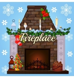 Fireplace with tree gift socks and candles vector