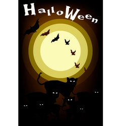 Gang of Halloween Cats on Full Moon Background vector image vector image