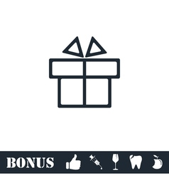 Gift box icon flat vector image