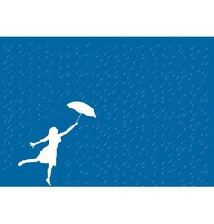 girl in the rain vector image vector image