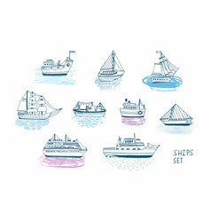 hand drawn doodle ships set colorful vector image vector image