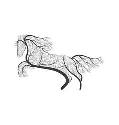 Horse jumping stylized bush vector