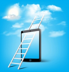 ladder to cloud through smart phone vector image vector image