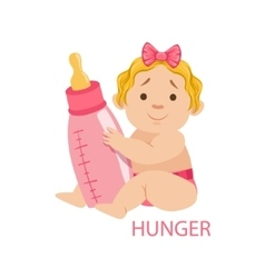 Little baby girl in nappy holding a bottle being vector