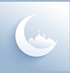 Moon with mosque silhouette clean background for vector