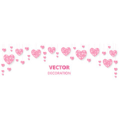 Pink hearts frame border glitter isolated vector