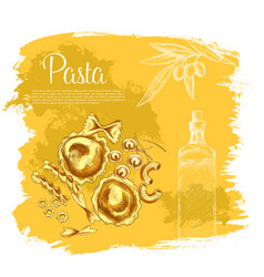 Poster of pasta and italian olive oil vector