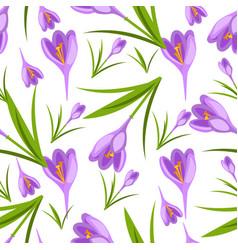 Purple crocuses in the snow pattern vector