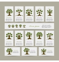 Set of cards with art trees for your design vector image vector image