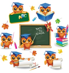 Set of wise owls in graduation caps vector