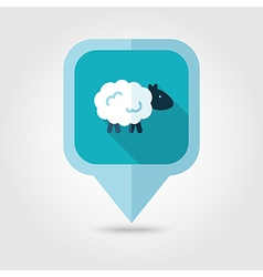 Sheep flat pin map icon map pointer vector