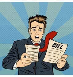 Shocked Man Frustrated Businessman Checking Bills vector image vector image
