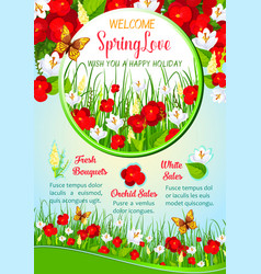 Spring flowers greeting poster template design vector