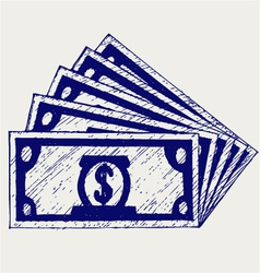 Stack of hundred dollars vector