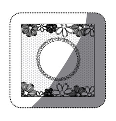 sticker monochrome pattern dotted with flowers vector image vector image