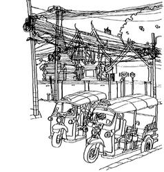 Thailand street life sketchbook vector image