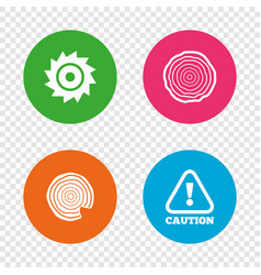 wood and saw circular wheel icons attention vector image