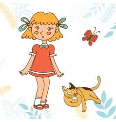 Cute little girl and cat vector image