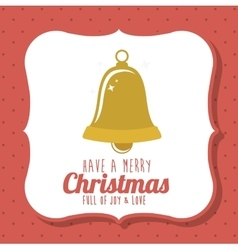Gold bell of merry christmas design vector
