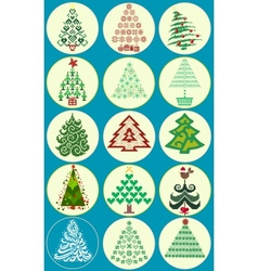 Collection of christmas trees vector