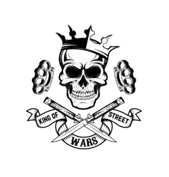 King of street wars Skull in crown with banner vector image