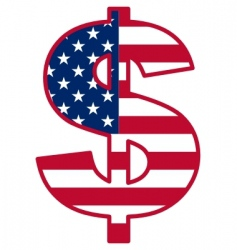 Usa flag inside dollar symbol vector