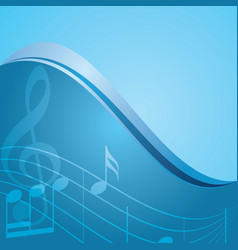 blue background - curved music notes vector image