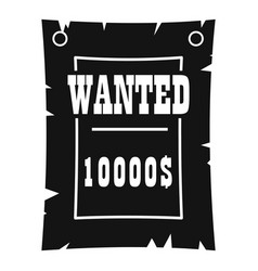 vintage wanted poster icon simple style vector image