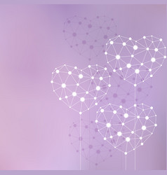 White hearts made of connected lines and dots vector